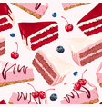 seamless background with cakes vector image