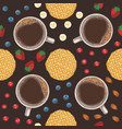 seamless pattern coffee fruits berries vector image