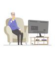 senior man watching tv - flat design style vector image vector image