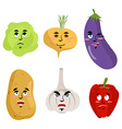 Set of vegetables with emotions Cheesy Potatoes vector image vector image