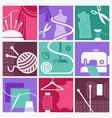 sewing and needlework symbols vector image vector image