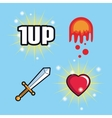 Spade flame heart and videogame design vector image vector image