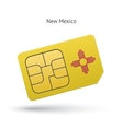 State of New Mexico phone sim card with flag vector image vector image