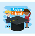 students girl and boy with graduate cap vector image