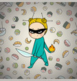 sushi hero chef of japanese cuisine vector image vector image