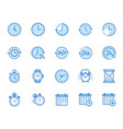 time flat line icons set alarm clock stopwatch vector image