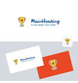 trophy logotype with business card template vector image vector image