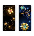 two banners with jewelry flowers vector image vector image