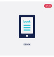 two color ebook icon from literature concept vector image vector image