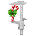 vertical caliper measures candy cane with bow vector image vector image