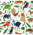 wild oceania animals flat style seamless pattern vector image vector image