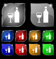Wine Icon sign Set of ten colorful buttons with vector image