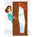 woman behind the door vector image vector image