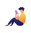 young user sitting and texting messages with vector image vector image
