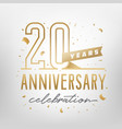 20th anniversary celebration golden template vector image