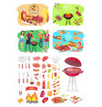 bbq grill party time posters vector image