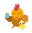 beautiful hen with egg painted and chick vector image vector image