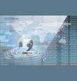 binary code and world map vector image vector image