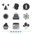 birthday party cake balloon hat and muffin vector image