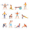 bodybuilding fitness in gym set character lifting vector image vector image
