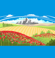 bright summer beautiful landscape with poppy field vector image