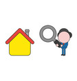 businessman character holding magnifying glass to vector image vector image