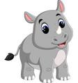 cartoon cute rhino sitting vector image vector image