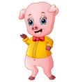 cartoon pig raising his arms vector image vector image