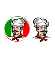 chef logo italian food pizza restaurant menu vector image vector image