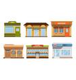 city buildings facades collection pizzeria fresh vector image vector image