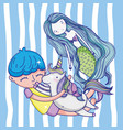 cute mermaid cartoons vector image