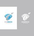 diamond and rocket logo combination unique gem vector image vector image