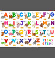 educational cartoon alphabet letters for learning vector image vector image