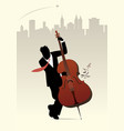 elegant man silhouette playing double bass on vector image vector image