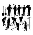farmer silhouettes vector image vector image