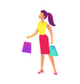 female buyer with shopping bags vector image vector image