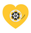 film movie reel heart shape i love cinema icon vector image