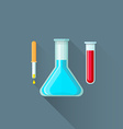 flat pipette flask test-tube icon vector image vector image