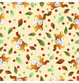 Fox and leaves on a beige background vector image