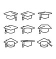 graduation hat icon set in line style vector image vector image