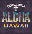 hawaii beach tee print with palm tree t-shirt vector image vector image