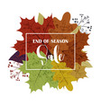 hello autumn sale text poster of september leaf vector image