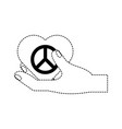 Herat with peace symbol icon