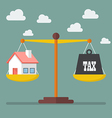 house and tax balance on scale vector image vector image