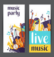 jazz party live music banners with musical vector image vector image