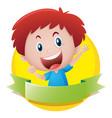 label design with happy boy vector image