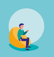 man with laptop sitting in sofa character vector image vector image