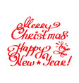 merry christmas and happy new year calligraphy vector image vector image