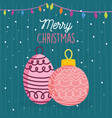 merry christmas celebration balls lights snow vector image