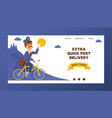 postman landing web page mailman delivers vector image vector image